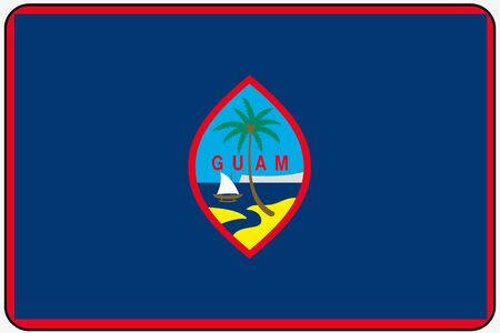 guam: A Flat Design Flag Illustration with Rounded Corners and Black Outline of the country of Guam