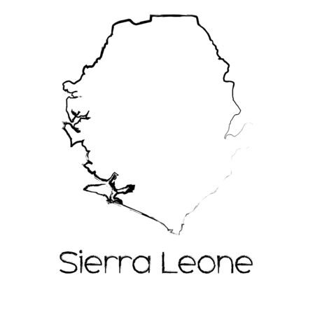 sierra: A Scribbled Shape of the Country of Sierra Leone Illustration