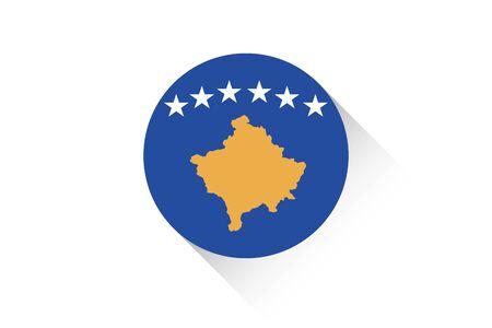 kosovo: A Round flag with shadow of Kosovo