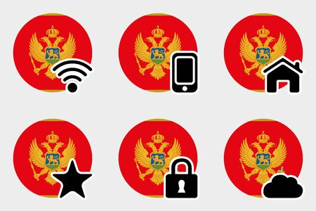 A Web Icon Set with the Flag of Montenegro