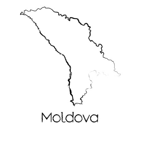 scribbled: A Scribbled Shape of the Country of Moldova Illustration