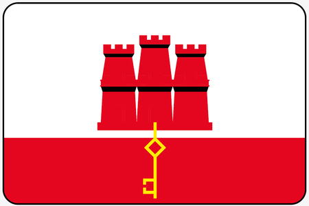 gibraltar: A Flat Design Flag Illustration with Rounded Corners and Black Outline of the country of Gibraltar Illustration