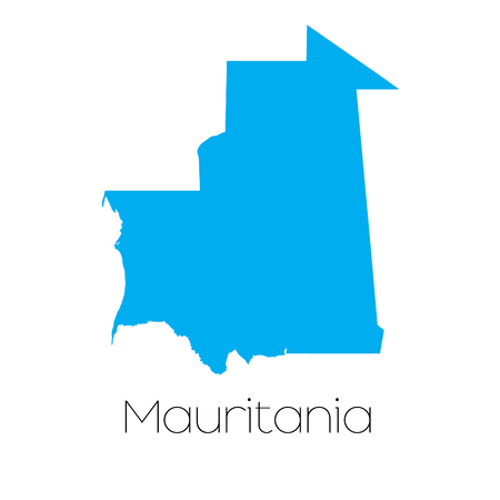 mauritania: A Blue shape with name of the country of Mauritania Illustration