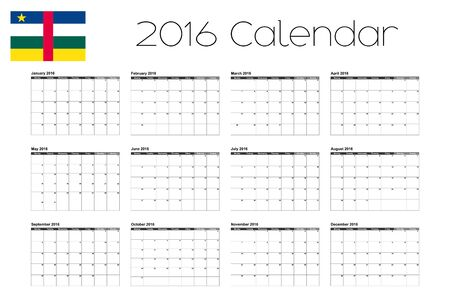 central african republic: A 2016 Calendar with the Flag of Central African Republic