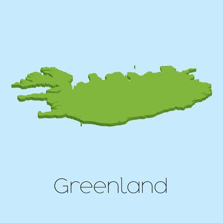 greenland: A 3D map on blue water background of Greenland