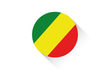 Congo: A Round flag with shadow of Congo
