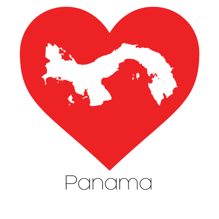 panama: A Heart illustration with the shape of Panama