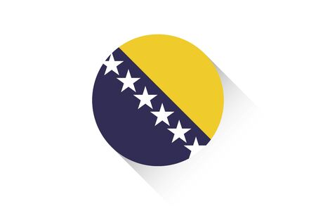 bosnia: A Round flag with shadow of Bosnia
