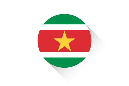 suriname: A Round flag with shadow of Suriname
