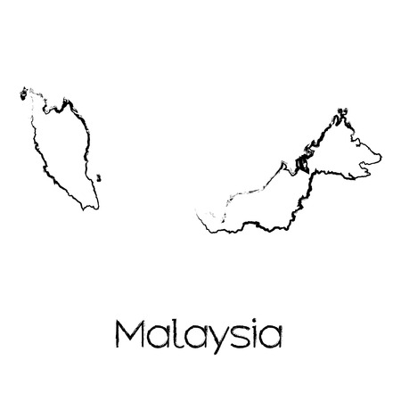 scribbled: A Scribbled Shape of the Country of Malaysia Illustration