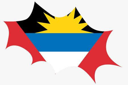 antigua: An Explosion wit the flag of Antigua and Barbuda Illustration