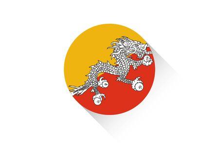 bhutan: A Round flag with shadow of Bhutan