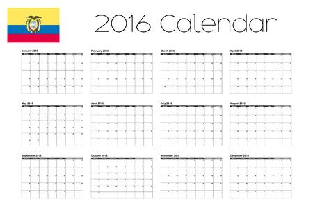 ecuador: A 2016 Calendar with the Flag of Ecuador Stock Illustratie
