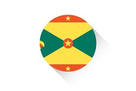 grenada: A Round flag with shadow of Grenada