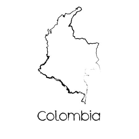 A Scribbled Shape of the Country of Colombia