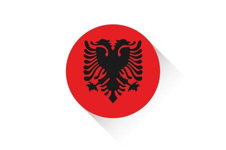 albanie: A Round flag with shadow of Albania
