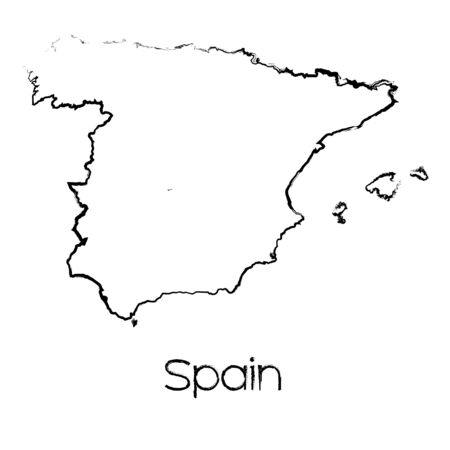 scribbled: A Scribbled Shape of the Country of Spain