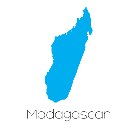 madagascar: A Blue shape with name of the country of Madagascar