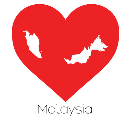 A Heart illustration with the shape of Malaysia