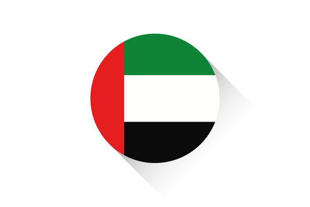 ensign: A Round flag with shadow of United Arab Emirates Illustration