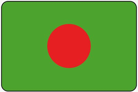 bangladesh: A Flat Design Flag Illustration with Rounded Corners and Black Outline of the country of Bangladesh Illustration