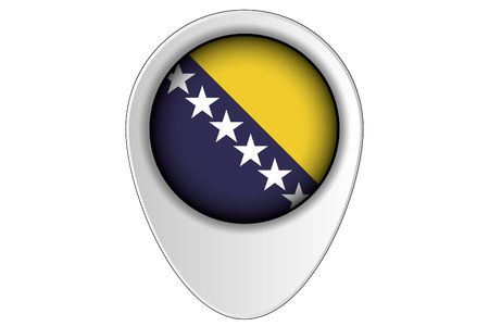 ensign: A 3D Map Pointer Flag Illustration of the country of  Bosnia
