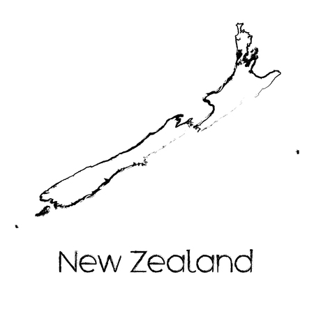 scribbled: A Scribbled Shape of the Country of New Zealand