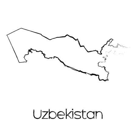 oezbekistan: A Scribbled Shape of the Country of Uzbekistan Stock Illustratie