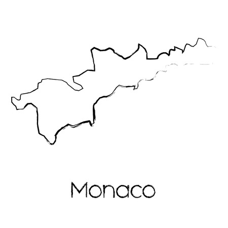 A Scribbled Shape of the Country of Monaco Illustration