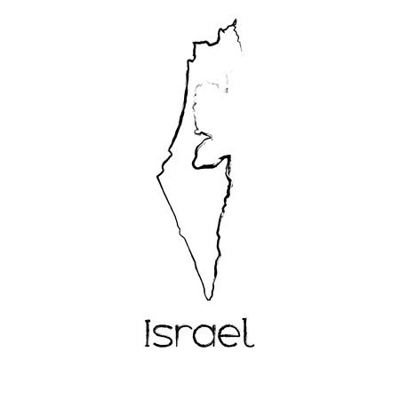 scribbled: A Scribbled Shape of the Country of Israel Illustration