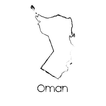 scribbled: A Scribbled Shape of the Country of Oman Illustration