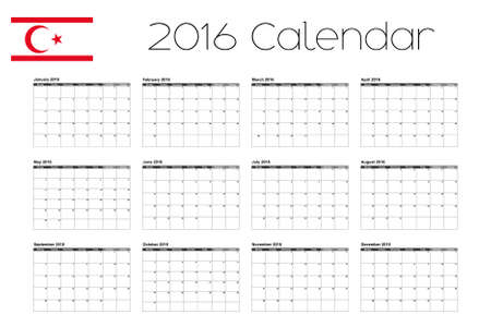 A 2016 Calendar with the Flag of Northern Cyprus