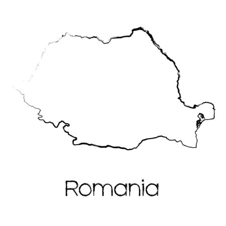 scribbled: A Scribbled Shape of the Country of Romania