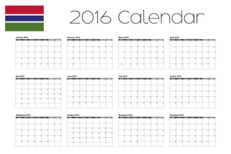 gambia: A 2016 Calendar with the Flag of Gambia