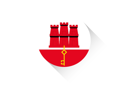 gibraltar: A Round flag with shadow of Gibraltar Illustration