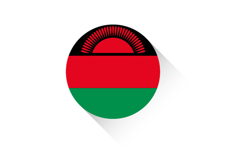 ensign: A Round flag with shadow of Malawi Illustration