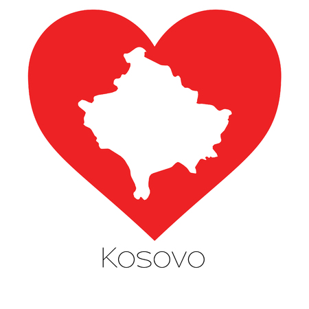 kosovo: A Heart illustration with the shape of Kosovo