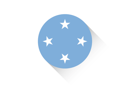 micronesia: A Round flag with shadow of Micronesia