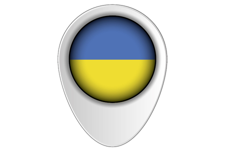 ensign: A 3D Map Pointer Flag Illustration of the country of  Ukraine