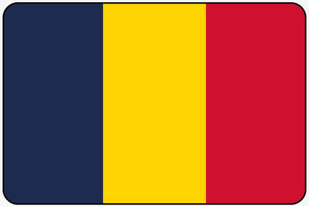 ensign: A Flat Design Flag Illustration with Rounded Corners and Black Outline of the country of Chad