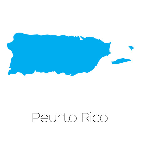 A Blue shape with name of the country of Puerto Rico Stock Vector - 45063972