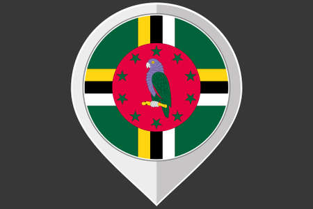 dominica: A Pointer with the flag of Dominica