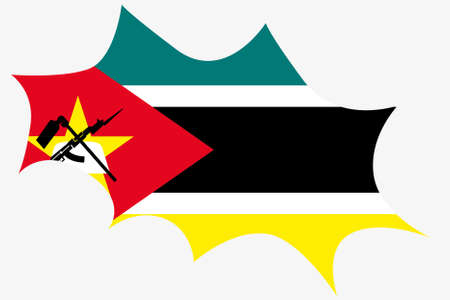 mozambique: An Explosion wit the flag of Mozambique