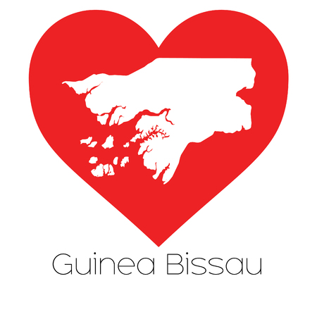 bissau: A Heart illustration with the shape of Guinea Bissau