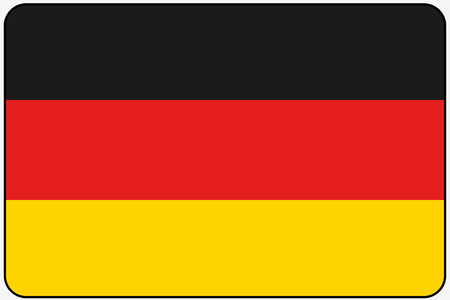 ensign: A Flat Design Flag Illustration with Rounded Corners and Black Outline of the country of Germany Illustration
