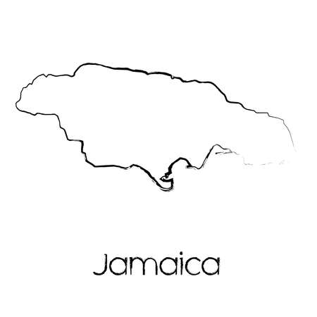 scribbled: A Scribbled Shape of the Country of Jamaica