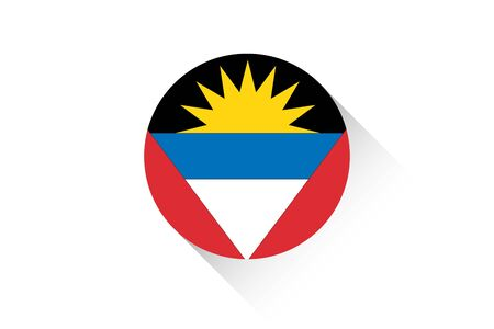 barbuda: A Round flag with shadow of Antigua and Barbuda Illustration