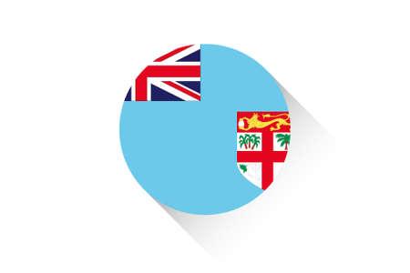 fiji: A Round flag with shadow of Fiji