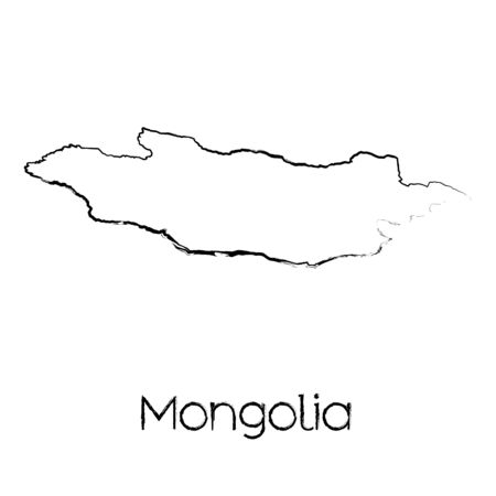 scribbled: A Scribbled Shape of the Country of Mongolia