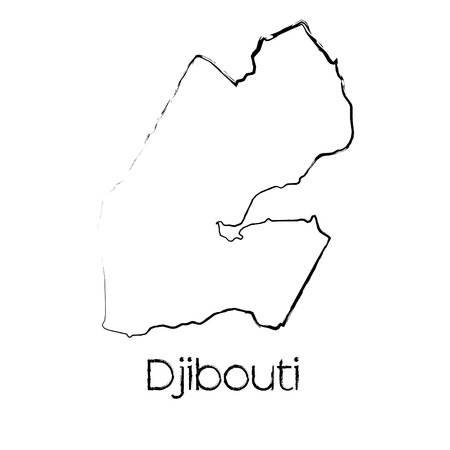 djibouti: A Scribbled Shape of the Country of Djibouti Illustration